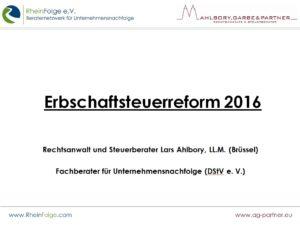 Die Erbschaftssteuerreform 2016
